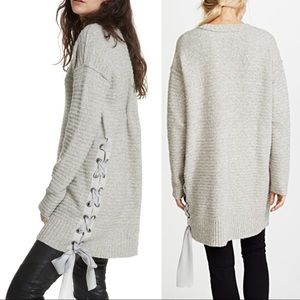 Free People Heart It Laces Oversize Sweater Tunic